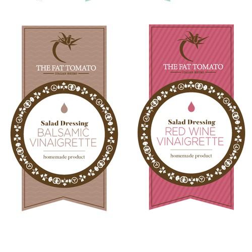 Set of labels for salad dressing