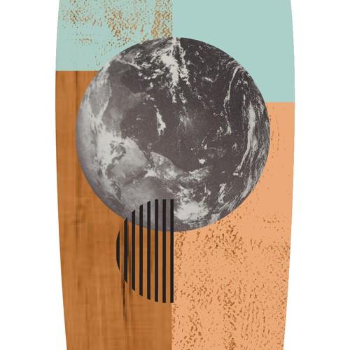 Creative, collage style semi-transparent design for longboard deck.