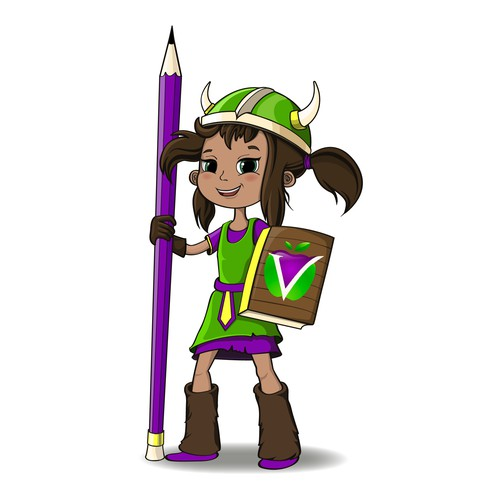 Viking- girl, character (mascot).