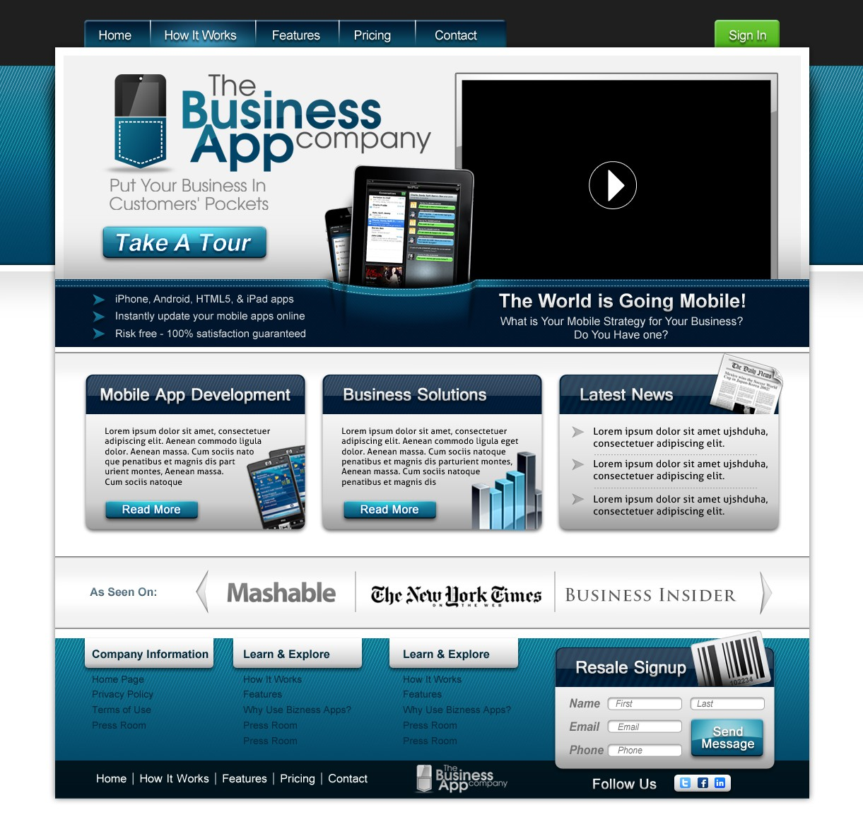 Create the next website design for The Business App Company