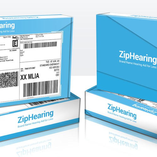 Shipping Box for a Hearing Aid product.