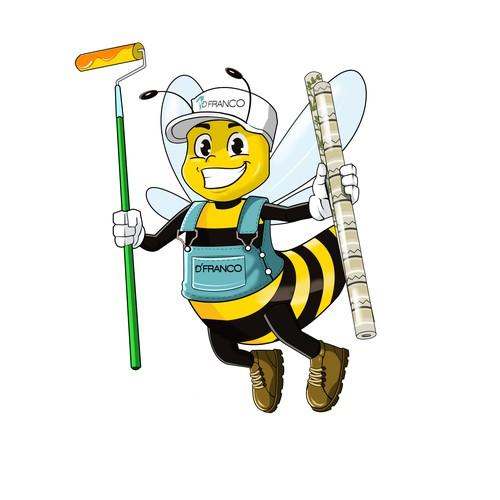 Honey Bee Painter Mascot