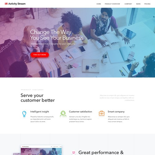 Homepage for activity stream