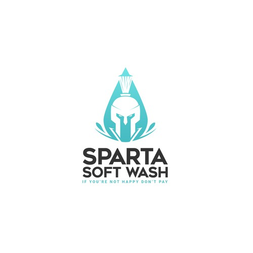 Create a classic Spartan themed logo for Sparta Soft Wash