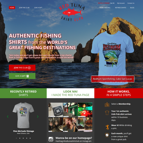 New look for fun, established site Red Tuna Shirt Club - Very Specific Direction!