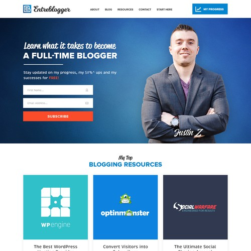 A unique and modern design for a new website called Entreblogger