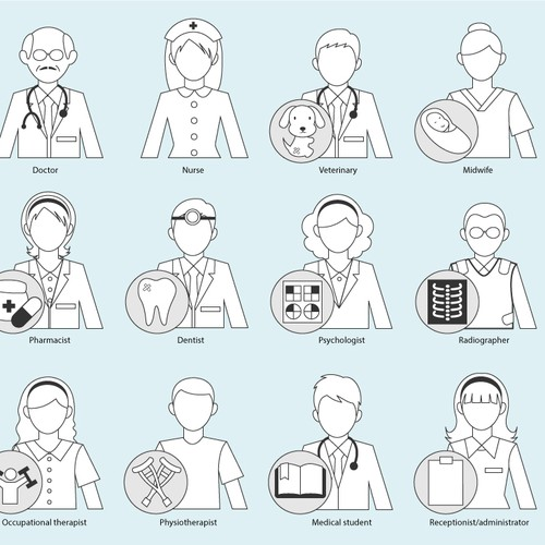 Design a cartoon character set of hospital staff for the Japanese market