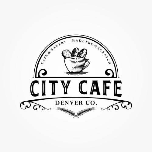 mature and classic logo design for CITY CAFE Denver Co.