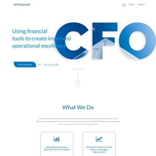 Clean Home Page for a CFO Service Business