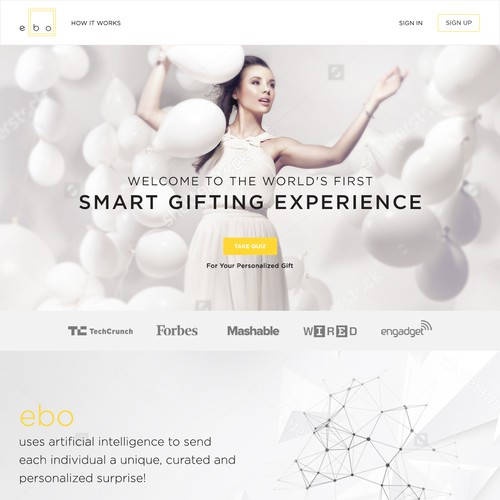 Modern landing page for a Gifting Service