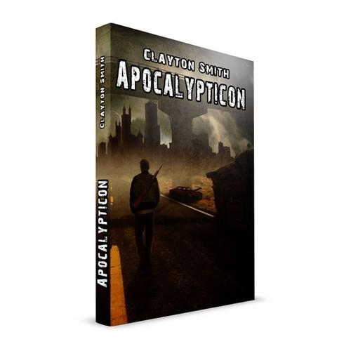 A comic-book style book cover my novel, Apocalypticon