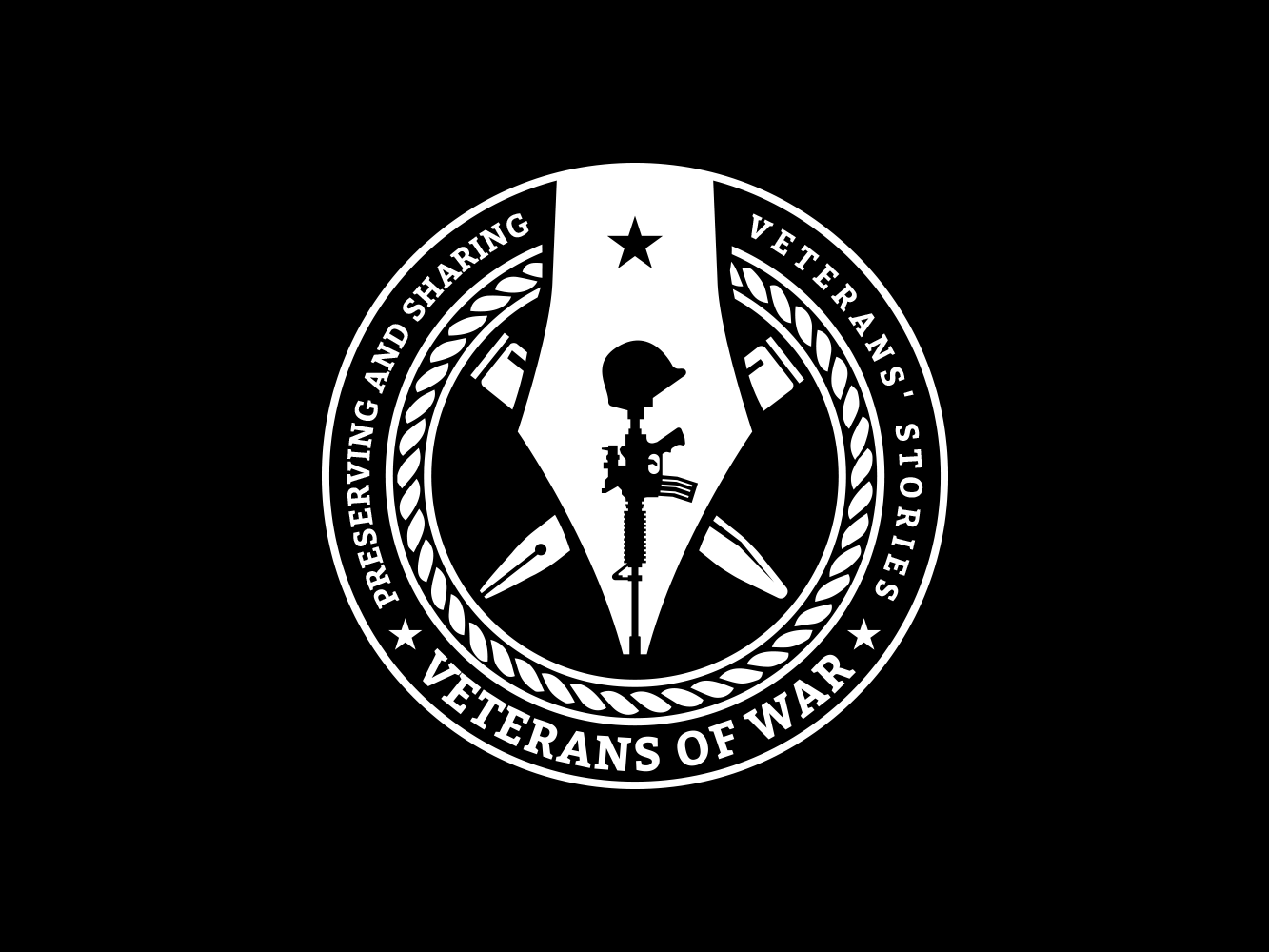 Create the logo for Veterans of War - a nonprofit dedicated to sharing veterans' stories
