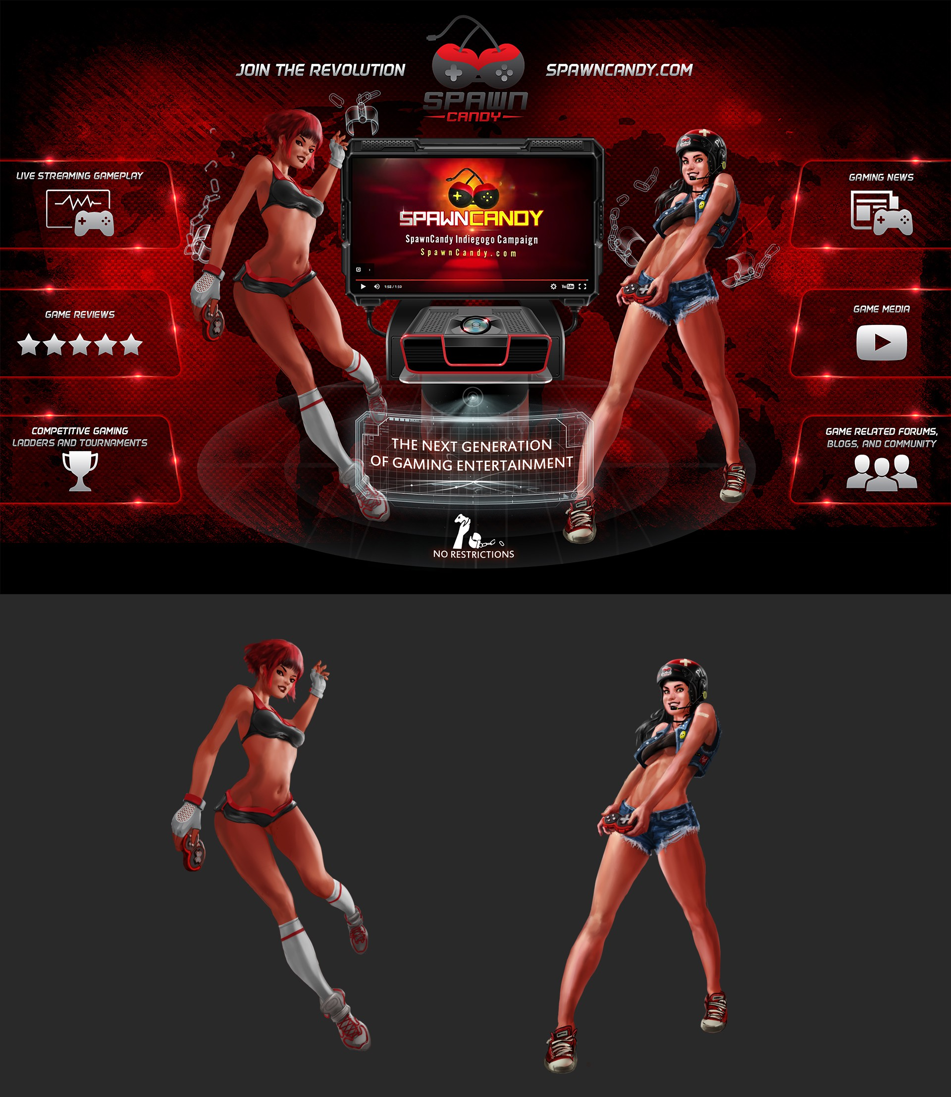 2 SpawnCandy Female Gamer Characters and centerpiece graphic design.