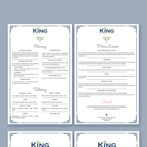King Garment Care List of Services & About Us card for elegant welcome package.