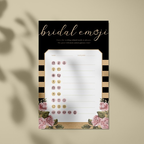 Bridal shower fun game design