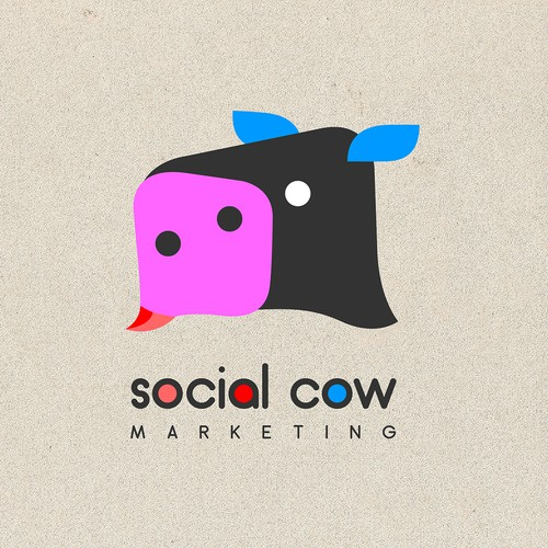 Logo for Social Cow Marketing - a marketing company for the service industry dealing with Social Media, Reputation Management, Marketing, Web Design