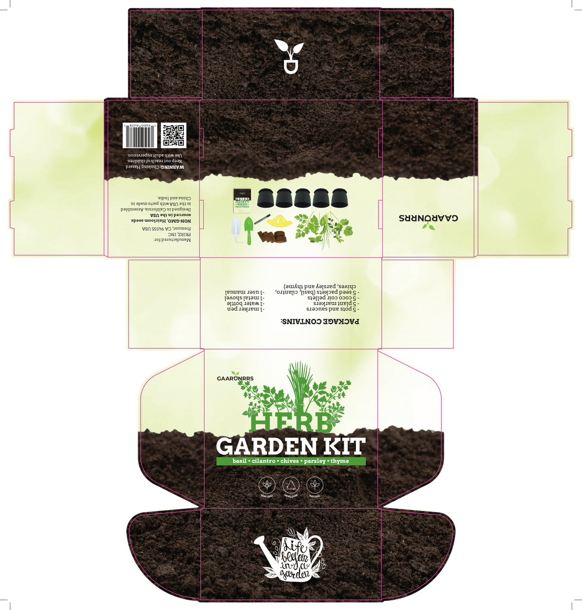 packaging for herb garden kit, make the user manual to match the package
