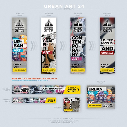 "Set of FLASH banners for online shop ""Urbat Art 24"""