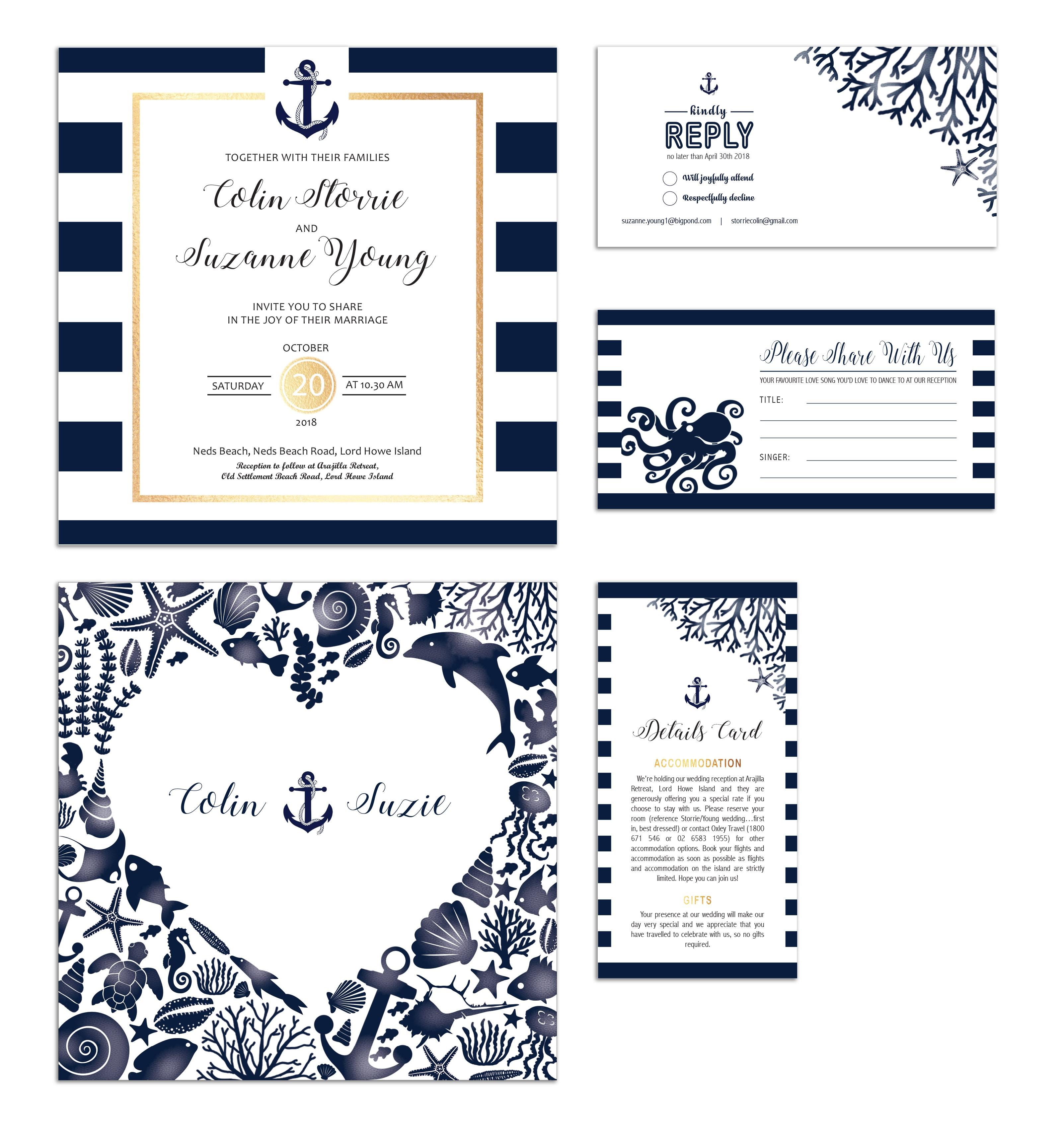 Lord Howe Island wedding invitation set
