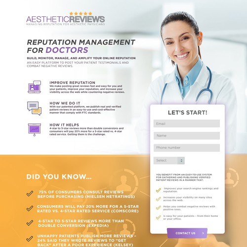 Landing page for Reputation Management for doctors
