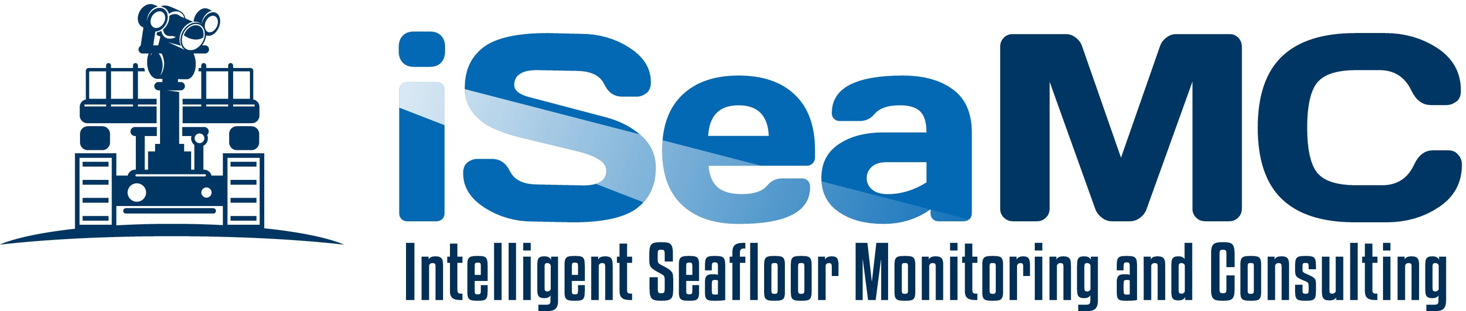 Create a capturing logo for a small company which uses a robot for sophisticated seafloor monitoring