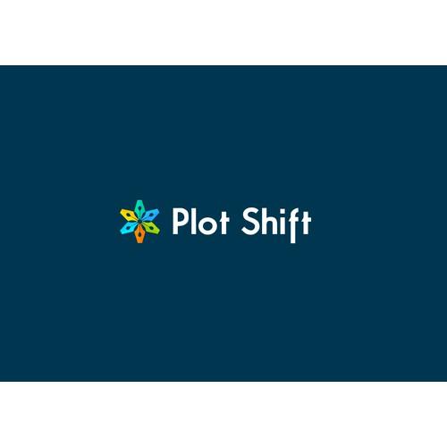 Create a modern logo for a collaborative writing platform: Plot Shift