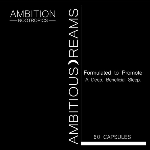 Label that exemplifies prestige, elegance, and minimalism for Ambition Nootropics newest product.
