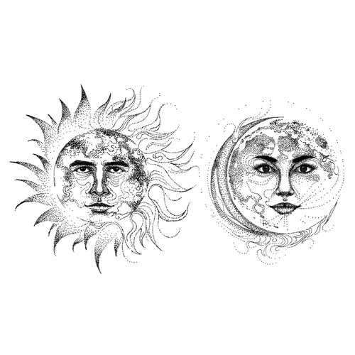 Sun and Moon Tattoo Illustration