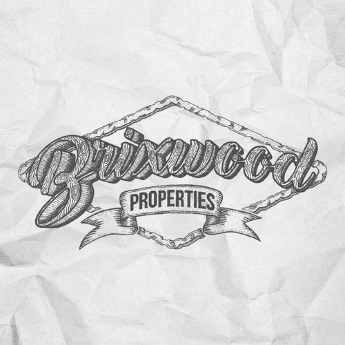 Vintage hand drawn logo for developer company