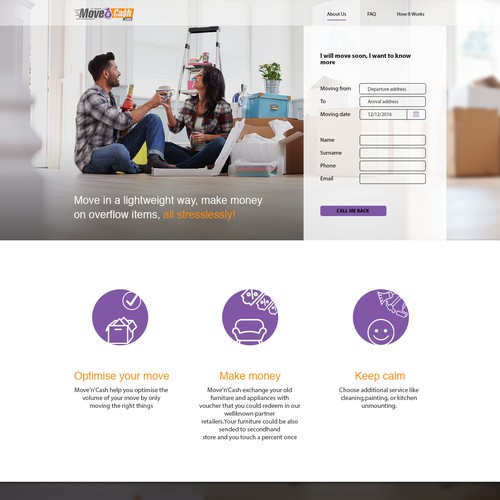 Landing page for a moving company