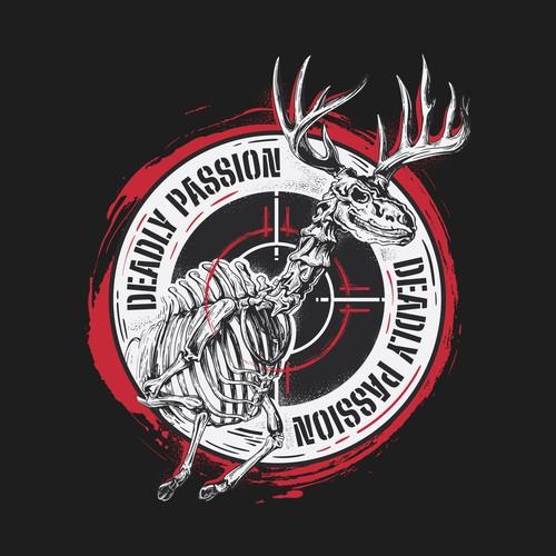 Skeleton Deer Illustration Tshirt Design