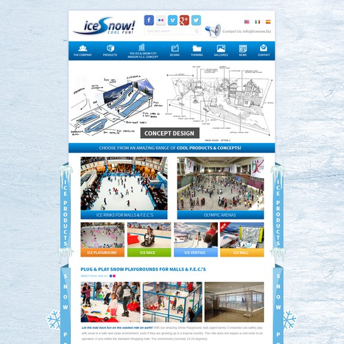 Create an amazing website for the COOLEST company on earth: we make SNOW & ICE!