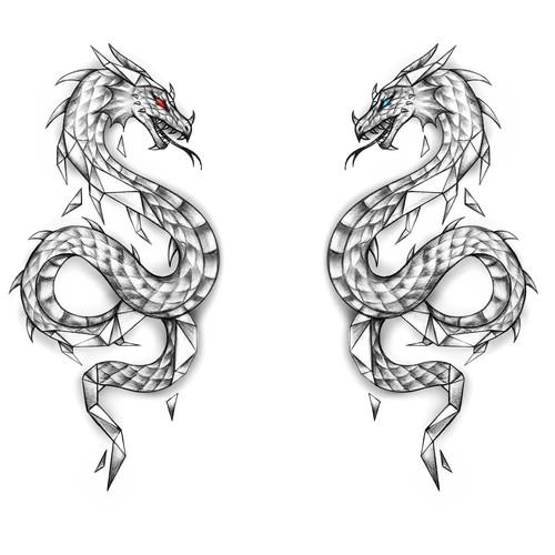 Geometric / Realistic Dragon Tattoo Design