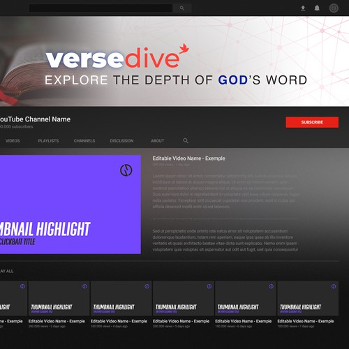 Youtube Banner for VerseDive