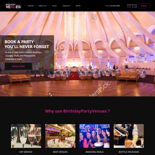 Design for birthday party website