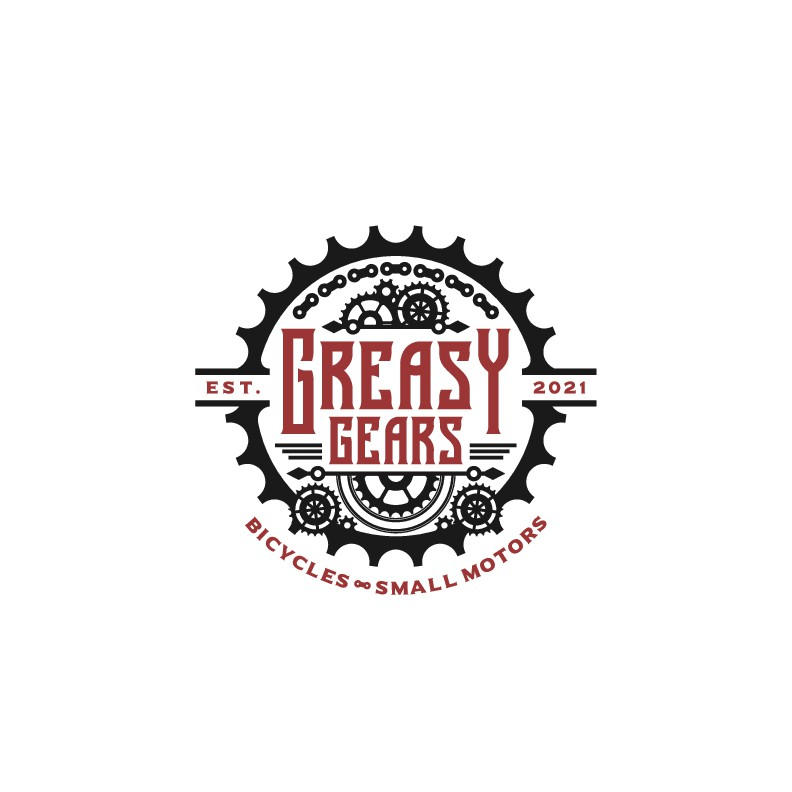 Design a gear-inspired logo for a bicycle/small motor mechanic
