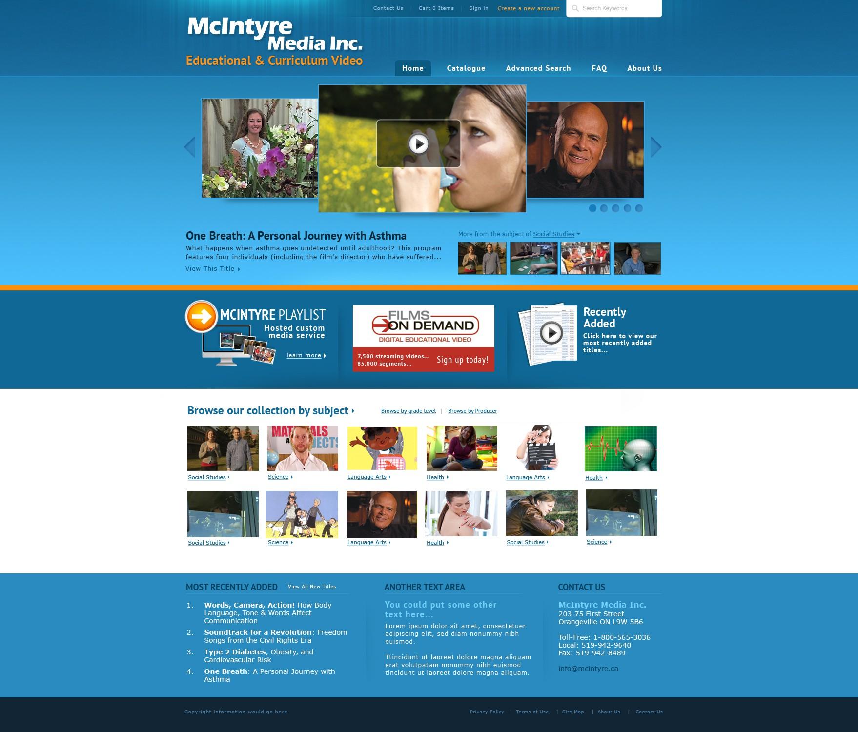 website design for McIntyre Media Inc.