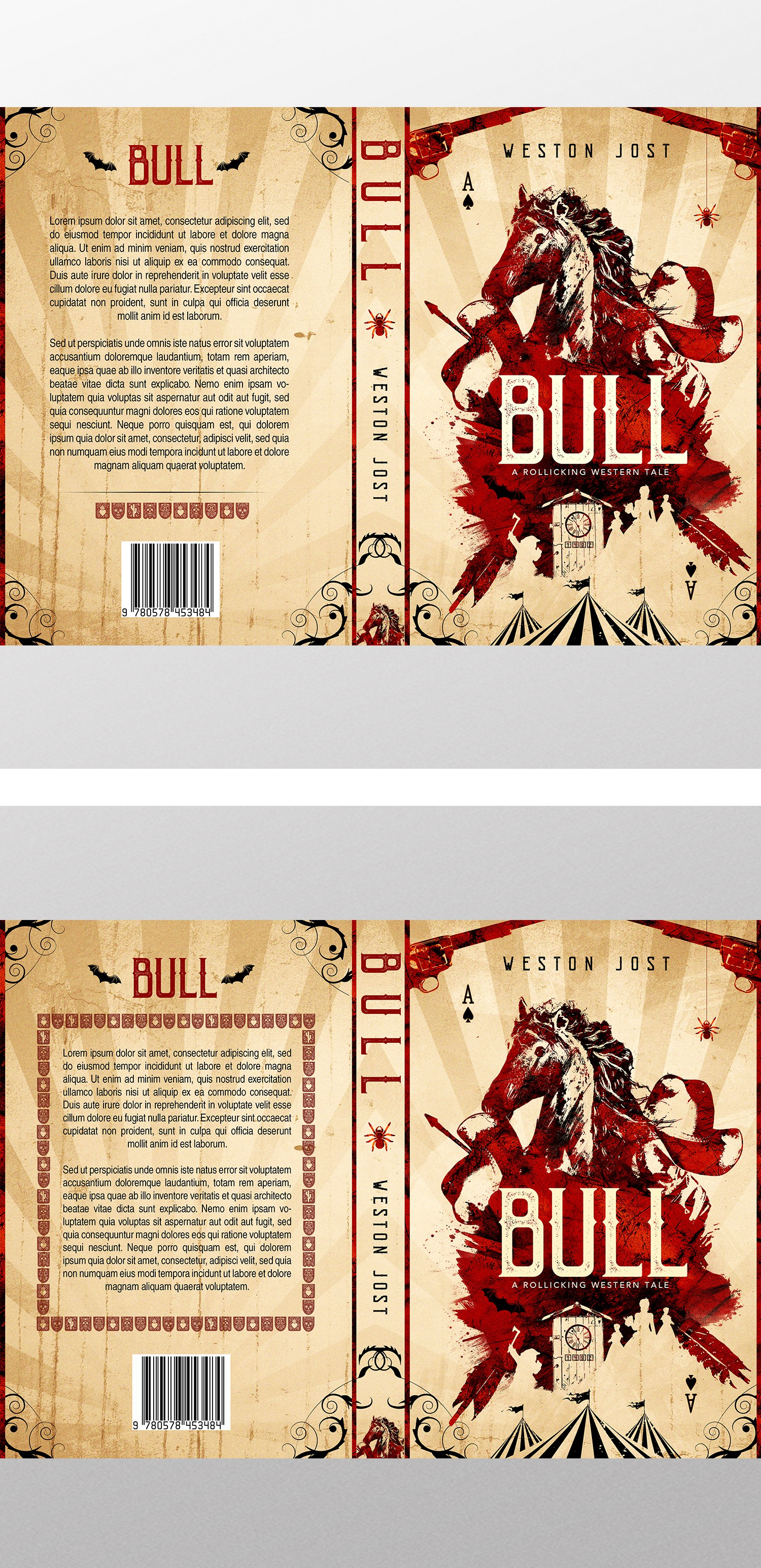 Create a beautiful and intriguing book cover for an unconventional, offbeat, 1870's western novel