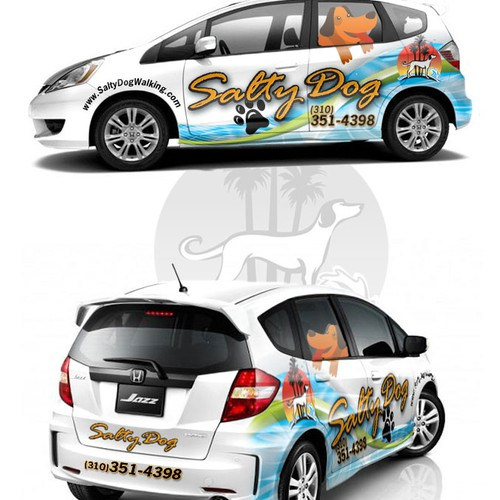 LA Dog Walking Car Wrap for 2011 Honda Fit S.