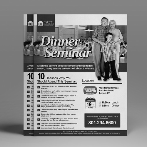 Simple, clean seminar inviation flyer to be inserted in newspaper