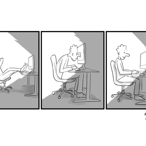 MAN SMUSHED AGAINST A COMPUTER - Hand Drawn Comic / Illustration Needed