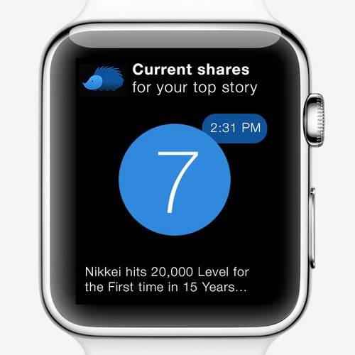 Apple Watch Glance design for a popular news app