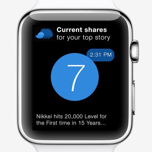 Apple Watch Glance design for a popular news app