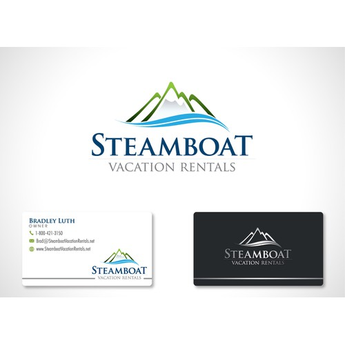 Create the next logo and business card for Steamboat Vacation Rentals