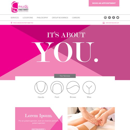 WEBSITE DESIGN FOR CONTEMPORARY HIGH ENERGY NAIL BAR/SALON