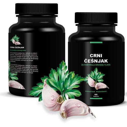 print or packaging design for Crni češnjak (Black garlic) Dressed in black