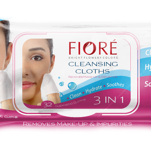 Packaging for cleansing cloths.