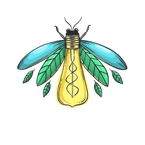 Hand Drawn Logo of a Firefly with Lightbulb-body
