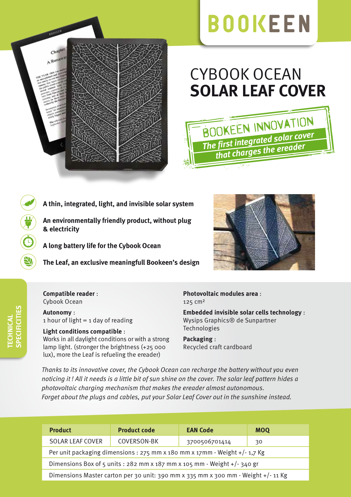 Solar cover product sheet