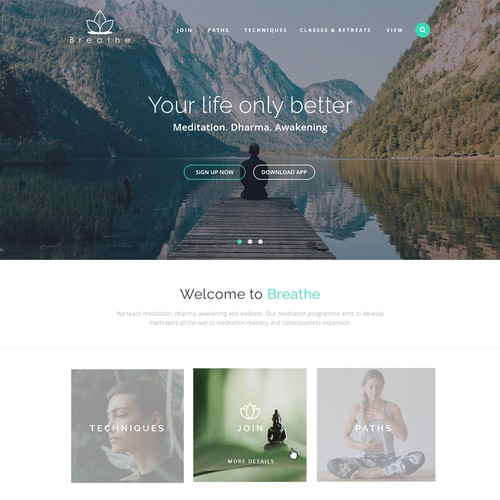 Meditation & awakening organization website design